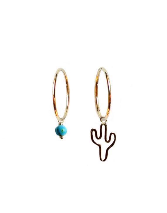 orecchini-cerchietto-cactus-turchese-oro