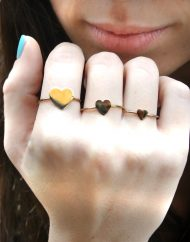 Iaia anelli cuori a lastrina grande medio e piccolo