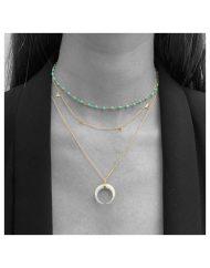 girocollo female – rosario turchese – collana lunga crescent 50cm