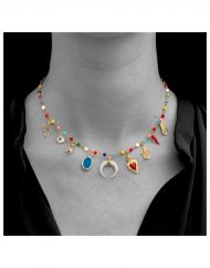 girocollo-rosario-multicolor-BOHO-oro_indossato_3_