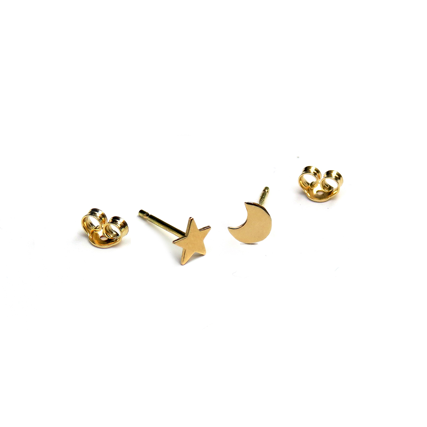 Micro Star And Half Moon Stud Earrings In 18ct Gold
